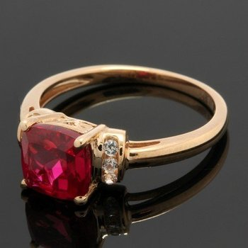 Solid 10k Rose Gold, 1.40ctw Ruby & White Sapphire Ring sz 7