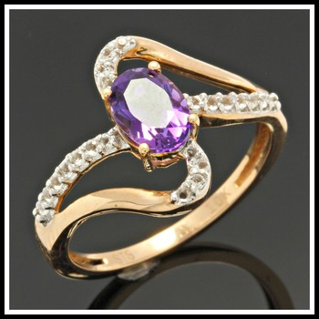 Solid 10K Rose Gold, 1.50ctw Genuine Amethyst & White Topaz Ring Size 7