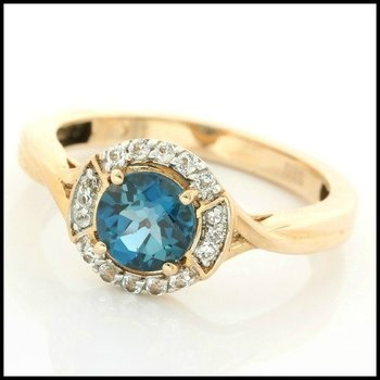 Solid 10k Rose Gold, 1.50ctw Genuine London Blue Topaz & White Sapphire Ring sz 7
