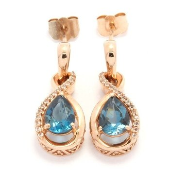 Solid 10k Rose Gold, 1.56ctw Genuine Blue Topaz & White Sapphire Earrings