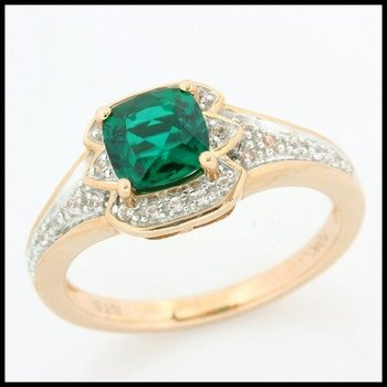 Solid 10k Rose Gold, 1.60ctw Emerald & White Sapphire Ring size 7