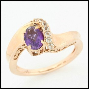 Solid 10k Rose Gold, 1.65ctw Amethyst, White Sapphire & Emerald Ring sz 7
