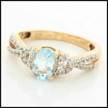 Solid 10k Rose Gold, 1.65ctw Genuine Aquamarine & White Sapphire Ring sz 6.75