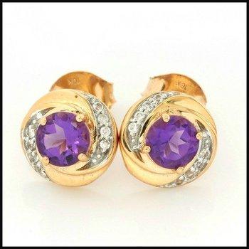 Solid 10k Rose Gold, 1.70ctw Amethyst & White Sapphire Stud Earrings