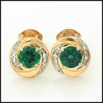 Solid 10k Rose Gold, 1.70ctw Emerald & White Sapphire Stud Earrings