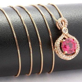 Solid 10k Rose Gold, 1.70ctw Genuine Red Corundum & White Sapphire Necklace