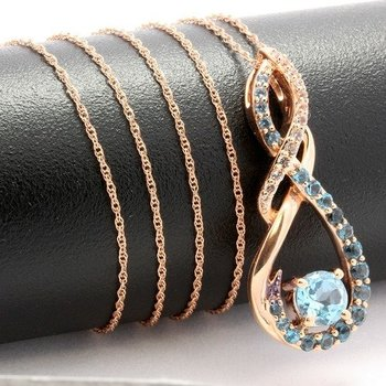 Solid 10k Rose Gold, 1.75ctw Genuine Blue & White Topaz Necklace