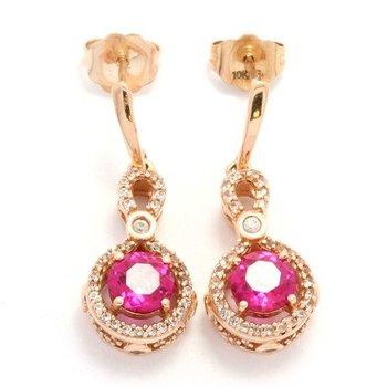 Solid 10k Rose Gold, 1.85ctw Genuine Red Corundum & White Topaz Earrings