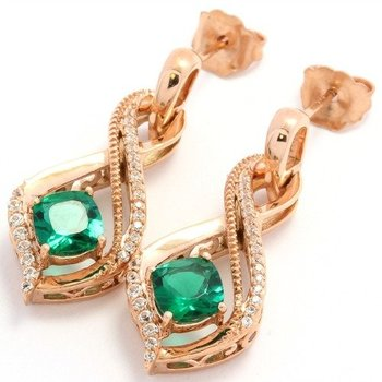 Solid 10k Rose Gold, 2.00ctw Emerald & White Topaz Drop Earrings