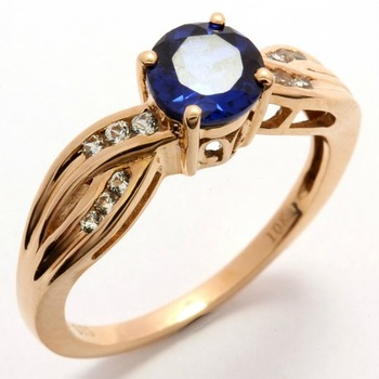 Solid 10k Rose Gold, 2.10ctw Blue & White Sapphire Ring size 7