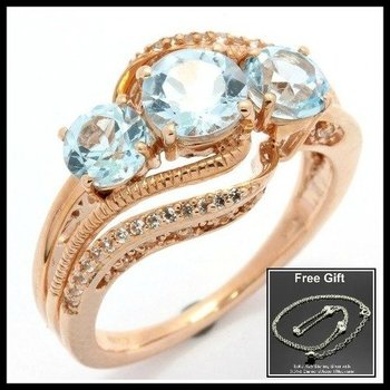 Solid 10k Rose Gold, 2.15ctw Genuine Blue & White Topaz Ring sz 7 FREE Gift - .925 Silver Necklace