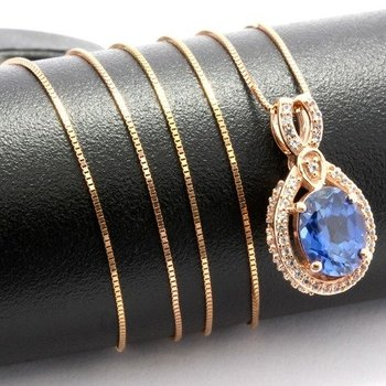 Solid 10k Rose Gold, 2.20ctw Blue & White Sapphire Necklace