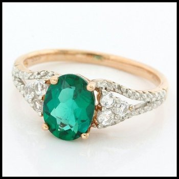 Solid 10k Rose Gold, 2.35ctw Emerald & White Sapphire Ring size 7