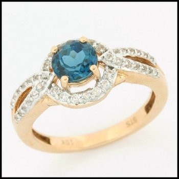 Solid 10k Rose Gold, 2.50ctw Genuine London Blue Topaz & White Sapphire Ring sz 7