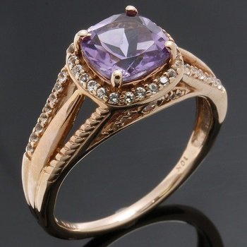 Solid 10k Rose Gold, 2.51ctw Genuine Amethyst & White Sapphire Ring sz 6 3/4