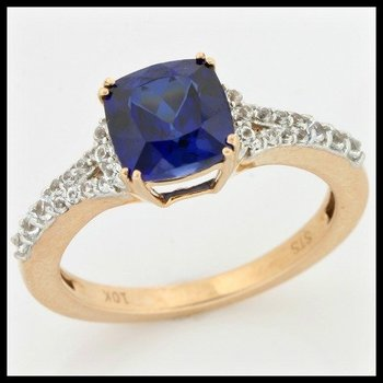 Solid 10k Rose Gold, 2.55ctw Blue & White Sapphire Ring size 7