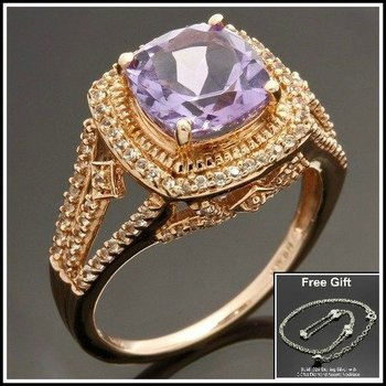 Solid 10k Rose Gold, 2.64ctw Genuine Amethyst & White Sapphire Ring sz 7 FREE Gift - Silver Necklace