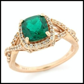 Solid 10k Rose Gold, 3.35ctw Emerald & White Sapphire Ring size 7