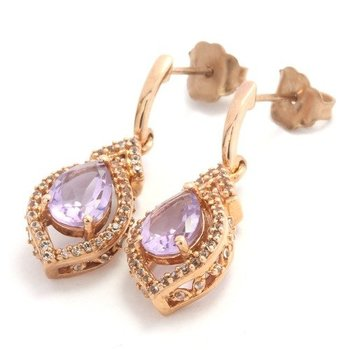Solid 10k Rose Gold, 3.35ctw Genuine Amethyst & White Sapphire Drop Earrings