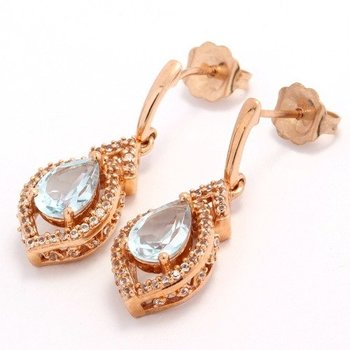 Solid 10k Rose Gold, 3.50ctw Genuine Aquamarine & White Sapphire Earrings