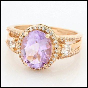 Solid 10k Rose Gold, 6.00ctw Genuine Amethyst & White Sapphire Ring sz 7