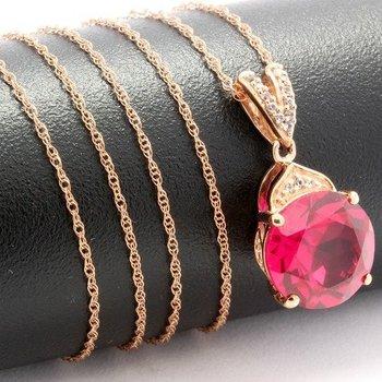 Solid 10k Rose Gold, 7.40ctw Genuine Red Corundum & White Topaz Necklace