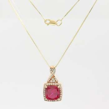 Solid 10k Rose Gold Beautifully Created Ruby & White Sapphire Necklace