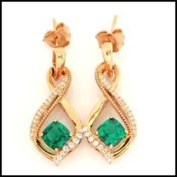 Solid 10k Rose Gold Emerald Earrings