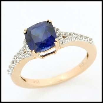 Solid 10k Rose Gold Sapphire Ring Size 7