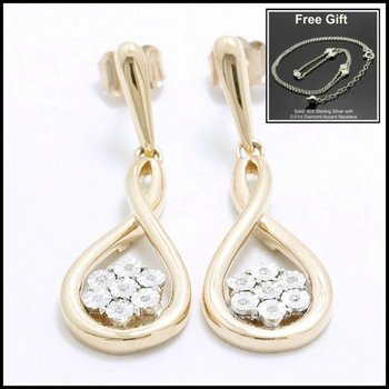 Solid 10k Rose & White Gold, 0.05ctw Genuine Diamonds Earrings Free Gift - .925 Sterling Silver Necklace