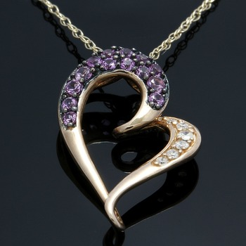 Solid 10k Rose & Yellow Gold, Genuine Diamonds & Pink Sapphire Heart Necklace
