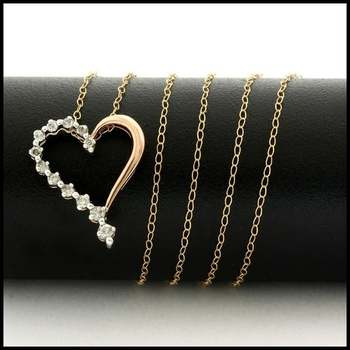 Solid 10k Rose&White Gold, 0.15ctw Genuine Diamond Necklace with Heart Shape Pendant