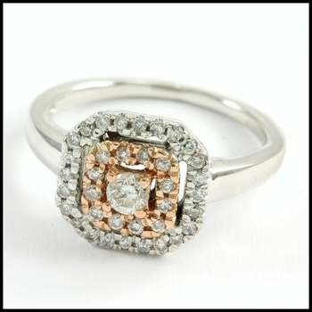 Solid 10k Rose&White Gold, 0.25ctw Genuine Diamond Ring Size 4.25