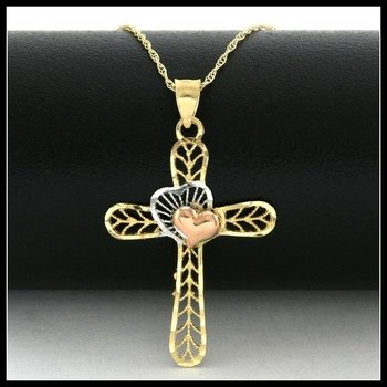 Solid 10k Tri-Color Gold Diamond Cut Cross Necklace