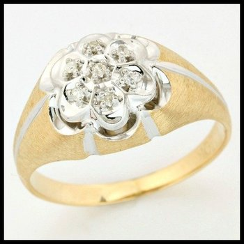 Solid 10k Two-Tone Gold, 0.04ctw Genuine Diamonds Ring size 9