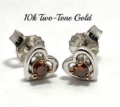Solid 10k Two-Tone Gold, 0.11ctw Genuine Chocolate Diamond Stud Earrings