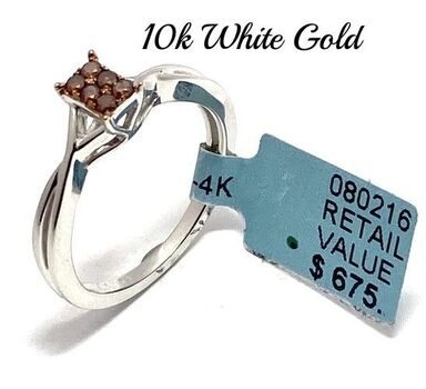 Solid 10k Two-Tone Gold, 0.12ctw Genuine Chocolate Diamond Ring Size 7