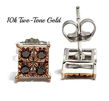 Solid 10k Two-Tone Gold, 0.20ctw Genuine Chocolate Diamond Stud Earrings