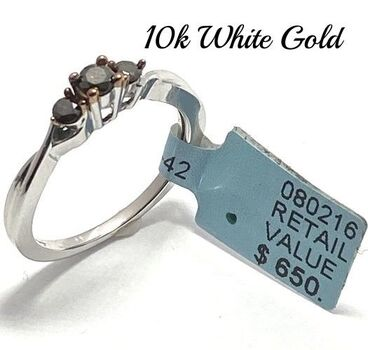 Solid 10k Two-Tone Gold, 0.27ctw Genuine Chocolate Diamond Ring Size 7