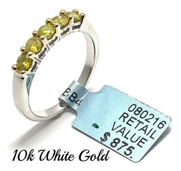 Solid 10k Two-Tone Gold, 0.54ctw Genuine Fancy Yellow Diamond Ring Size 7
