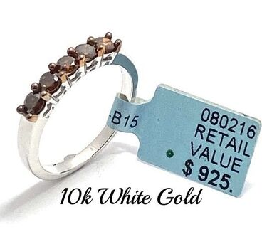 Solid 10k Two-Tone Gold, 0.60ctw Genuine Chocolate Diamond Ring Size 7