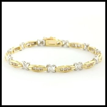 Solid 10k Two-Tone Gold, 1.00ctw Genuine Diamonds Bracelet