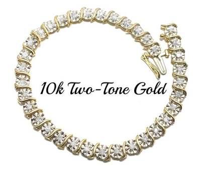 Solid 10k Two-Tone Gold, 1.0ctw Genuine Diamond Bracelet