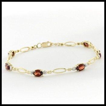 Solid 10k Two-Tone Gold, 1.50ctw Genuine Garnet & Genuine Diamonds Bracelet