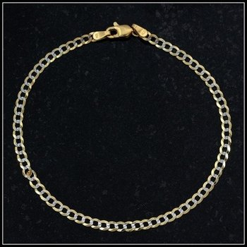 Solid 10k Two-Tone Gold Cuban Link Bracelet