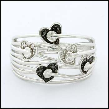 Solid 10k White Gold, 0.01ctw Genuine Black&White Diamond Ring Size 6.75