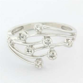 Solid 10k White Gold, 0.01ctw Genuine Diamond Ring Size 6.75