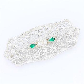 Solid 10k White Gold, 0.02ctw Genuine Diamond  & 0.15ctw Genuine Emerald Antique 1940's Brooch