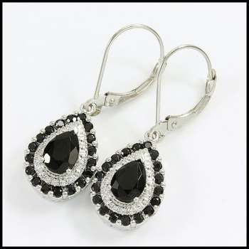 Solid 10k White Gold, 0.02ctw Genuine Diamond & 2.75ctw Onyx Earrings