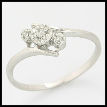 Solid 10k White Gold, 0.02ctw Genuine Diamonds Ring size 5.5